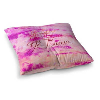 Je Taime by Ebi Emporium Floor Pillow Size: 26 x 26, Color: Pink/Cream/White