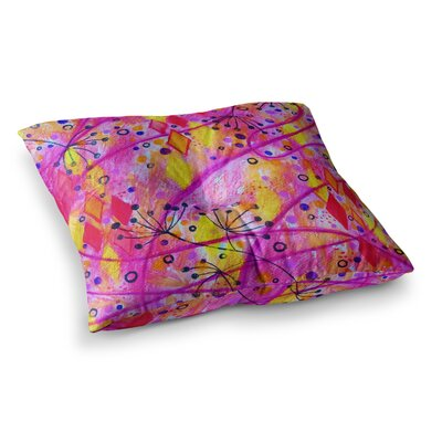 Into the Fall by Ebi Emporium Floor Pillow Size: 26 x 26, Color: Pink/Yellow
