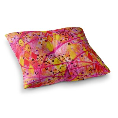 Into the Fall by Ebi Emporium Floor Pillow Size: 23 x 23, Color: Pink/Orange