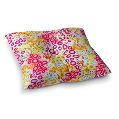 Circular Persuasion by Ebi Emporium Floor Pillow Size: 23 x 23, Color: Pink/Magenta/Yellow