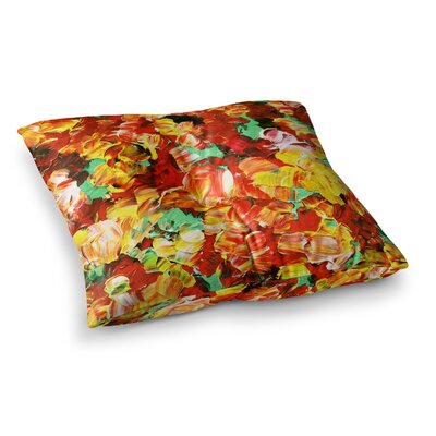 Floral Fantasy by Ebi Emporium Floor Pillow Size: 23 x 23, Color: Orange/Yellow