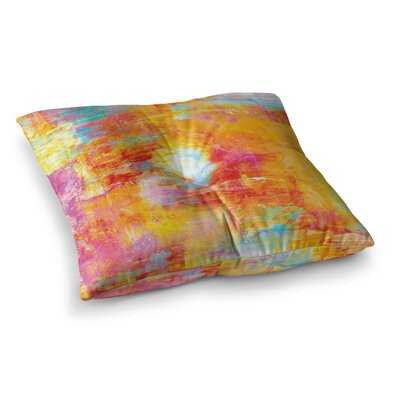 Off the Grid by Ebi Emporium Floor Pillow Size: 23 x 23, Color: Orange/Rainbow