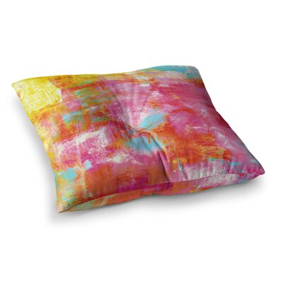 Off the Grid by Ebi Emporium Floor Pillow Size: 26 x 26, Color: Pink/Yellow