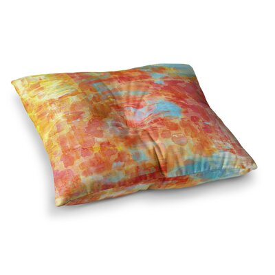 Pastel Jungle by Ebi Emporium Floor Pillow Size: 26 x 26, Color: Red/Orange