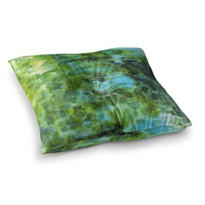 Pastel Jungle by Ebi Emporium Floor Pillow Size: 26 x 26, Color: Green/Blue