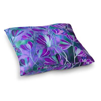 Efflorescence by Ebi Emporium Floor Pillow Size: 23 x 23, Color: Teal/Blue/Purple