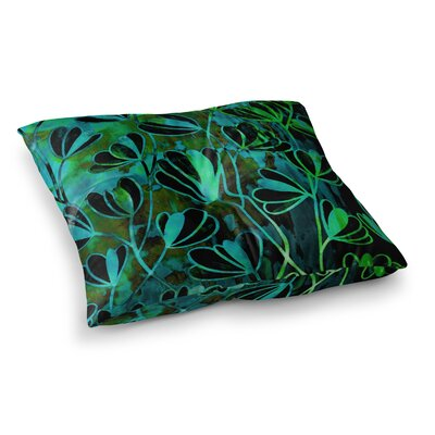 Efflorescence by Ebi Emporium Floor Pillow Size: 26 x 26, Color: Teal/Black