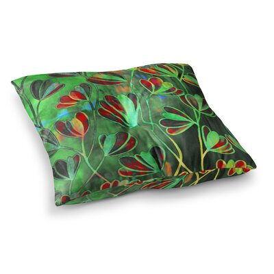 Efflorescence by Ebi Emporium Floor Pillow Size: 26 x 26, Color: Red/Green