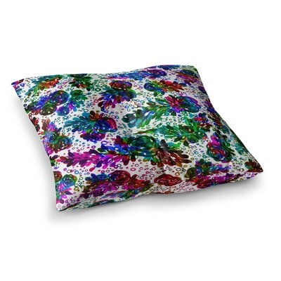 Prismatic Posy by Ebi Emporium Floor Pillow Size: 26 x 26, Color: Green/Purple