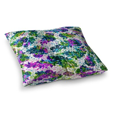 Prismatic Posy by Ebi Emporium Floor Pillow Size: 26 x 26, Color: Rainbow/White