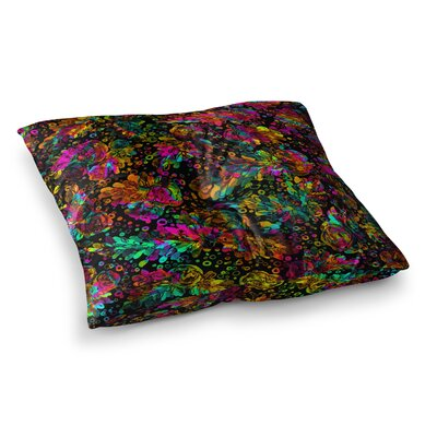 Prismatic Posy by Ebi Emporium Floor Pillow Size: 23 x 23, Color: Rainbow/Black