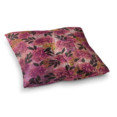 Grunge Flowers by Ebi Emporium Floor Pillow Size: 23 x 23, Color: Pink