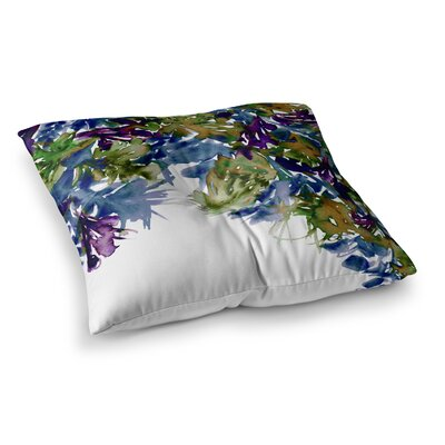 Floral Cascade by Ebi Emporium Floor Pillow Size: 23 x 23, Color: Green/Purple