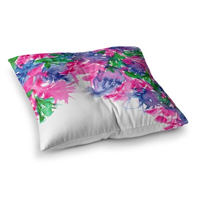 Floral Cascade by Ebi Emporium Floor Pillow Size: 23 x 23, Color: Pink/Green/Blue