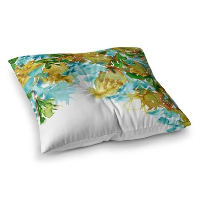Floral Cascade by Ebi Emporium Floor Pillow Size: 23 x 23, Color: Green/Yellow