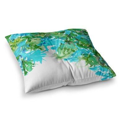 Floral Cascade by Ebi Emporium Floor Pillow Size: 23 x 23, Color: Teal/Green