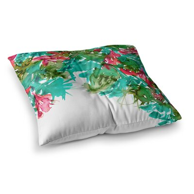 Floral Cascade by Ebi Emporium Floor Pillow Size: 23 x 23, Color: Pink/Green