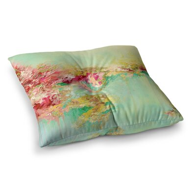When Land Met Sky by Ebi Emporium Floor Pillow Size: 26 x 26, Color: Red/Green