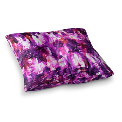 White Noise by Ebi Emporium Floor Pillow Size: 23 x 23, Color: Magenta/Purple/White