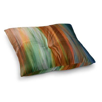 Irradiated by Ebi Emporium Floor Pillow Size: 23 x 23, Color: Green/Brown