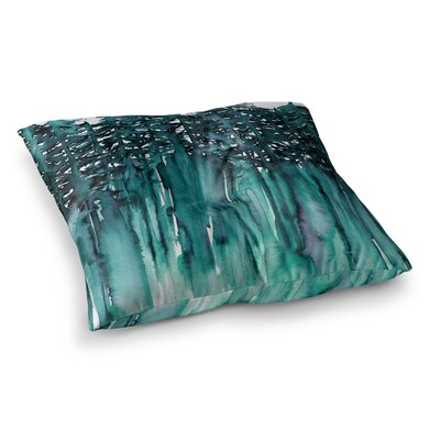 Forest Through the Trees by Ebi Emporium Floor Pillow Size: 26 x 26, Color: Teal/White
