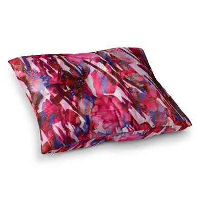 Frosty Bouquet by Ebi Emporium Floor Pillow Size: 23 x 23, Color: Maroon