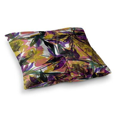 Floral Fiesta by Ebi Emporium Floor Pillow Size: 23 x 23, Color: Yellow/Purple