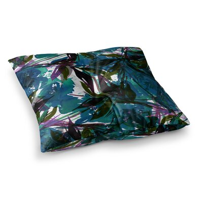 Floral Fiesta by Ebi Emporium Floor Pillow Size: 23 x 23, Color: Teal