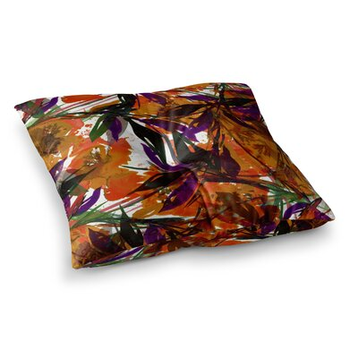 Floral Fiesta by Ebi Emporium Floor Pillow Size: 26 x 26, Color: Orange