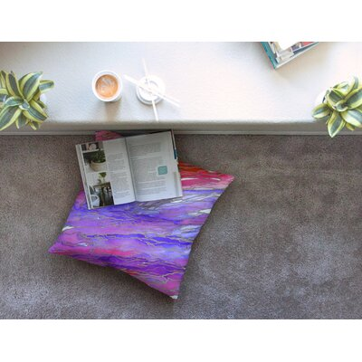 Agate Magic by Ebi Emporium Floor Pillow Size: 26 x 26, Color: Red/Purple