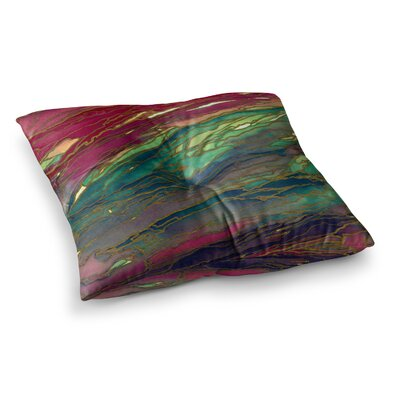 Agate Magic by Ebi Emporium Floor Pillow Size: 23 x 23, Color: Red/Green/Aqua
