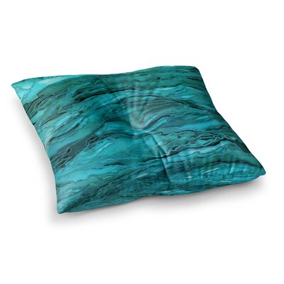 Marble Idea by Ebi Emporium Floor Pillow Size: 23 x 23, Color: Teal/Aqua/Blue