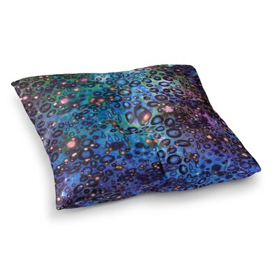 Rainbow Dotty Ocean by Ebi Emporium Floor Pillow Size: 26 x 26, Color: Blue/Black