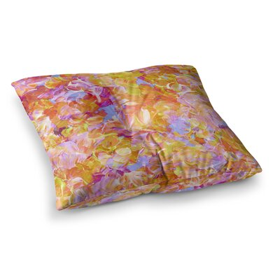 Bloom on! by Ebi Emporium Floor Pillow Size: 26 x 26, Color: Pink/Orange/Yellow