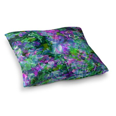 Bloom on! by Ebi Emporium Floor Pillow Size: 26 x 26, Color: Green/Purple