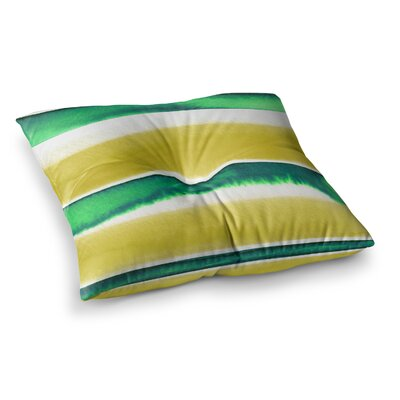 Summer Vibes by Ebi Emporium Floor Pillow Size: 23 x 23, Color: Green/Yellow/White
