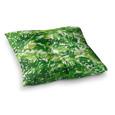 In the Meadow by Ebi Emporium Floor Pillow Size: 23 x 23, Color: Green/White