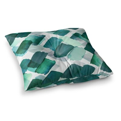Strokes of Genius by Ebi Emporium Floor Pillow Size: 26 x 26, Color: Teal/Green/White