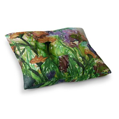 Floral Insurgence by Ebi Emporium Floor Pillow Size: 23 x 23, Color: Pink/Green