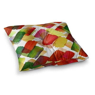 Strokes of Genius by Ebi Emporium Floor Pillow Size: 26 x 26, Color: Red/Green/Gold