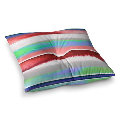 Prism Stripe by Ebi Emporium Floor Pillow Size: 23 x 23, Color: Red/Blue/Green