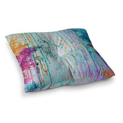 Happy Tears by Ebi Emporium Floor Pillow Size: 23 x 23, Color: Orange/Teal