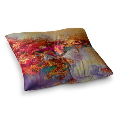 When Land Met Sky by Ebi Emporium Floor Pillow Size: 26 x 26, Color: Red/Purple