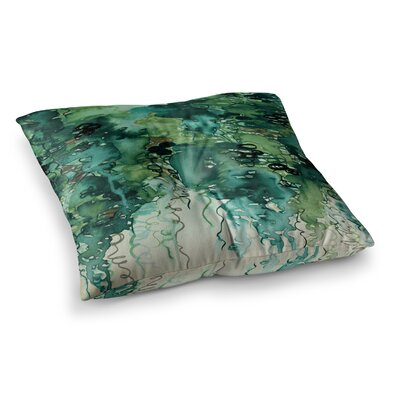 Beauty in the Rain by Ebi Emporium Floor Pillow Size: 26 x 26, Color: Green