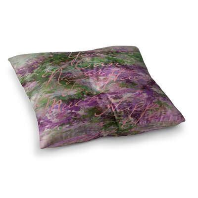 Too Much Happy by Ebi Emporium Floor Pillow Size: 26 x 26, Color: Green/Purple