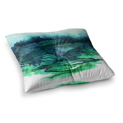 The Long Road by Ebi Emporium Floor Pillow Size: 26 x 26, Color: Teal/Green