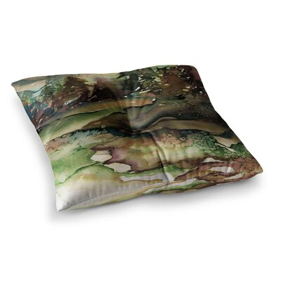 Never Leave the Path by Ebi Emporium Floor Pillow Size: 26 x 26, Color: Brown/Olive