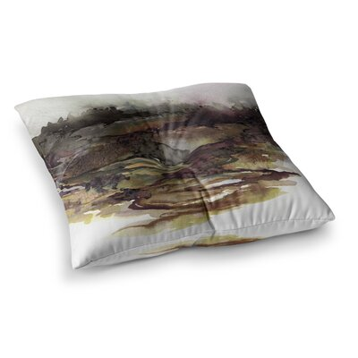 The Long Road by Ebi Emporium Floor Pillow Size: 23 x 23, Color: Maroon/Olive