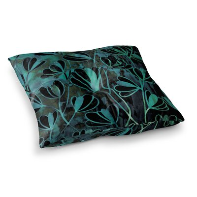 Efflorescence by Ebi Emporium Floor Pillow Size: 23 x 23, Color: Teal/Green/Black
