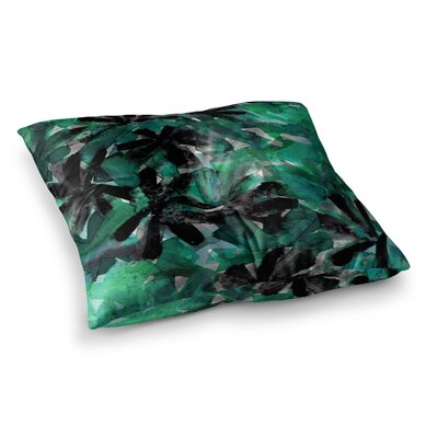 Snowy Stars by Ebi Emporium Floor Pillow Size: 23 x 23, Color: Green/Black